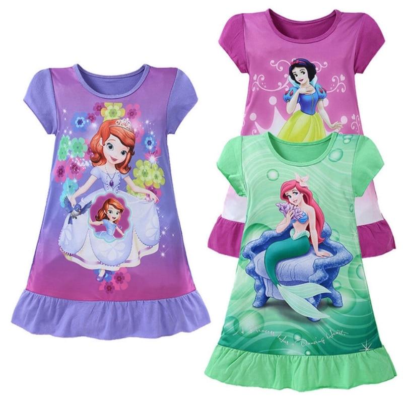 2016 Baby Meisjes Sneeuw Cartoon O-hals Roze Kinderen Kostuum Jurken Gedrukt Leuke Korte Mouw Jurken Voor Meisjes kleding