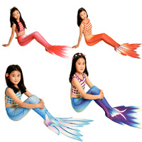 3pcs&4pcs/Set Kids New Mermaid Tail With Black Monofin Vacation Swimmable Costumes Girls Swimsuits Beach Fancy Tails Dress