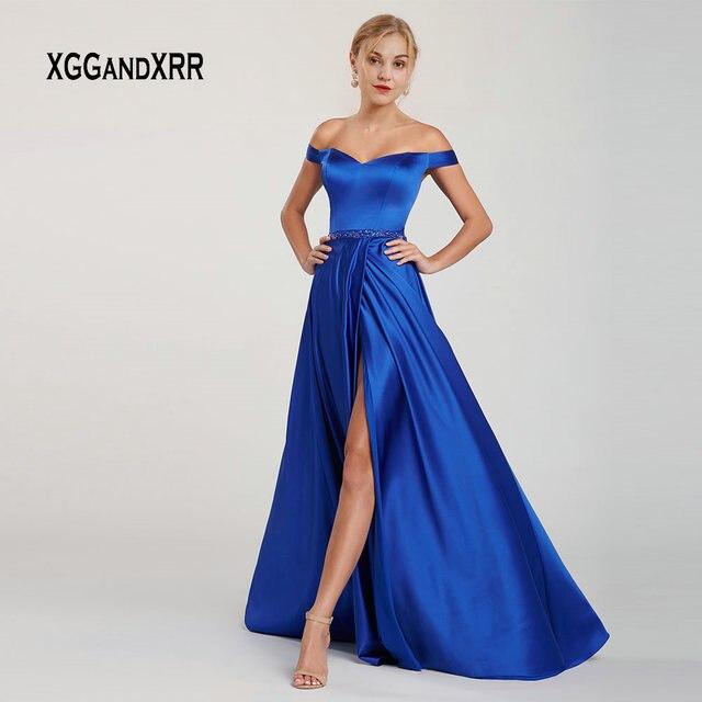 Elegant Satin Dress 2019 Prom Dress Long Sweetheart Off Shoulder Sexy Side Slit Blue vestidos de gala Woman Formal Party Gown