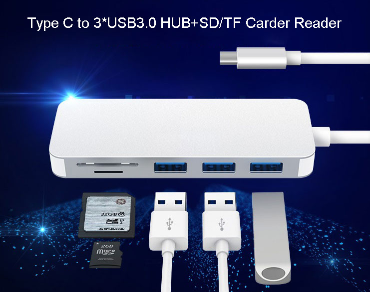 USB 3.1 Type C to 3 Ports USB3.0 TF SD Card Reader Faster Transmission Data 5 in 1 USB C HUB for MacBook Laptop Mobile Phone usb c lan hub type c to hdmi male 3hz type c pass through ethernet sd micro card reader and 3 usb 3 0 ports 10 pieces lot
