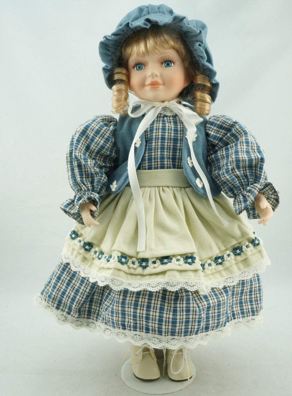 Cosette 16 Inches New Handmade Grids Collect Blue Dress