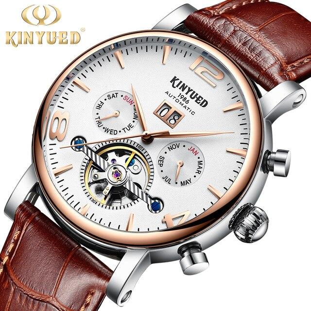 цена KINYUED Rose Gold Mens Mechanical Watch Automatic Luxury Perpetual Calendar Army Military Skeleton horloges mannen Hand Clock онлайн в 2017 году