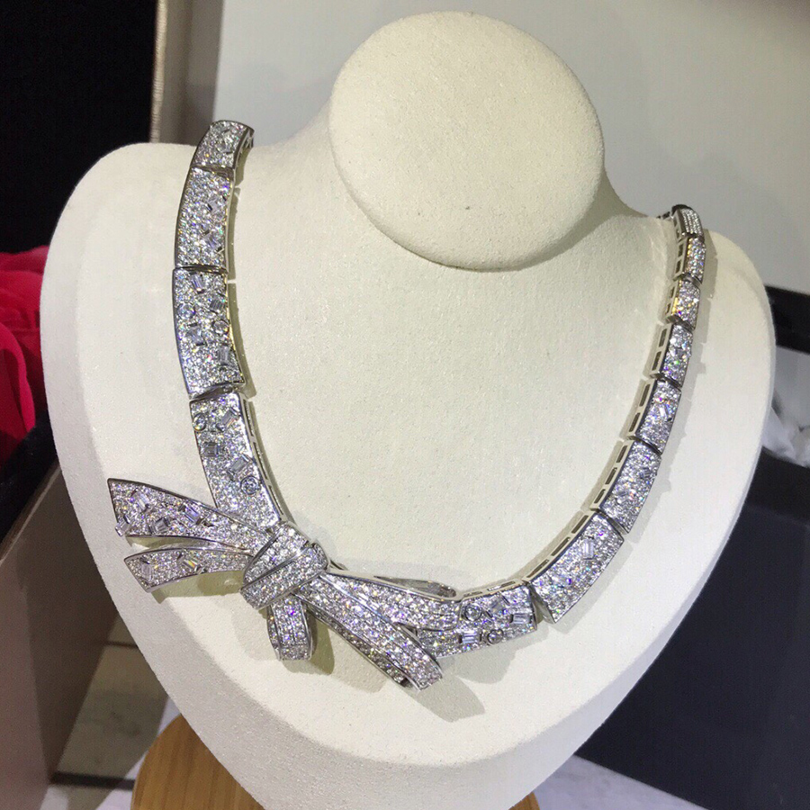 Luxury Brand Strong Statement Necklace Charms Top Crystal Zircon Bowknot Pendant For Women Wedding Party Dubai
