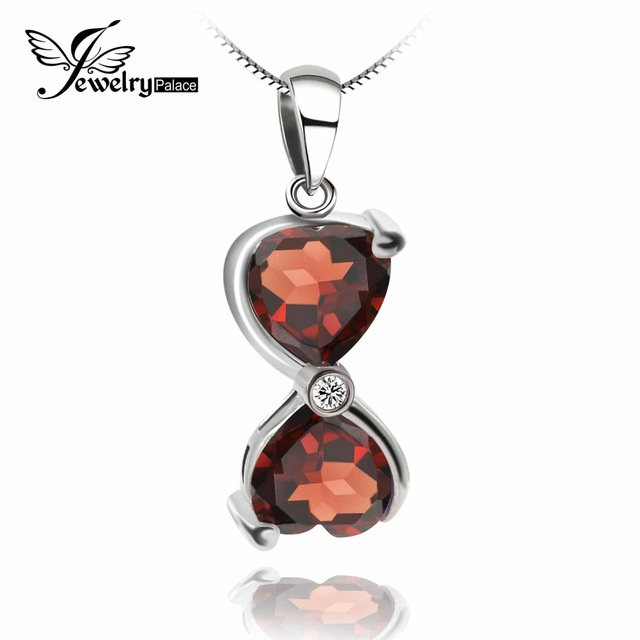 *HEART TO HEART *Natural Genuine Garnet Pendant-Solid 925 Sterling Silver-Pendant Pendulum For Necklace Best Gift to Lover
