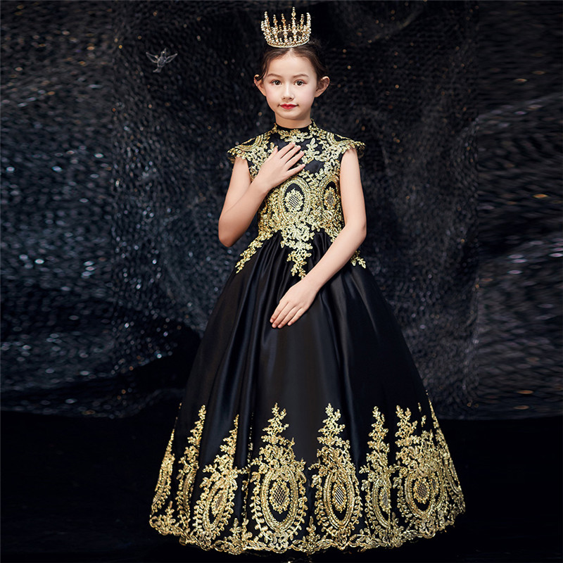 2020High-Grade Children Girls Luxury Embroidery Lace Evening Party Princess Prom Dress Teens Kids Piano Host Costume Long Dress