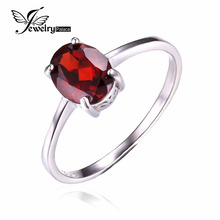 JewelryPalace Oval 1.7ct Pure Pink Garnet Birthstone Solitaire Ring Real 925 Sterling Silver Nice Jewellery Garnet Ring Present