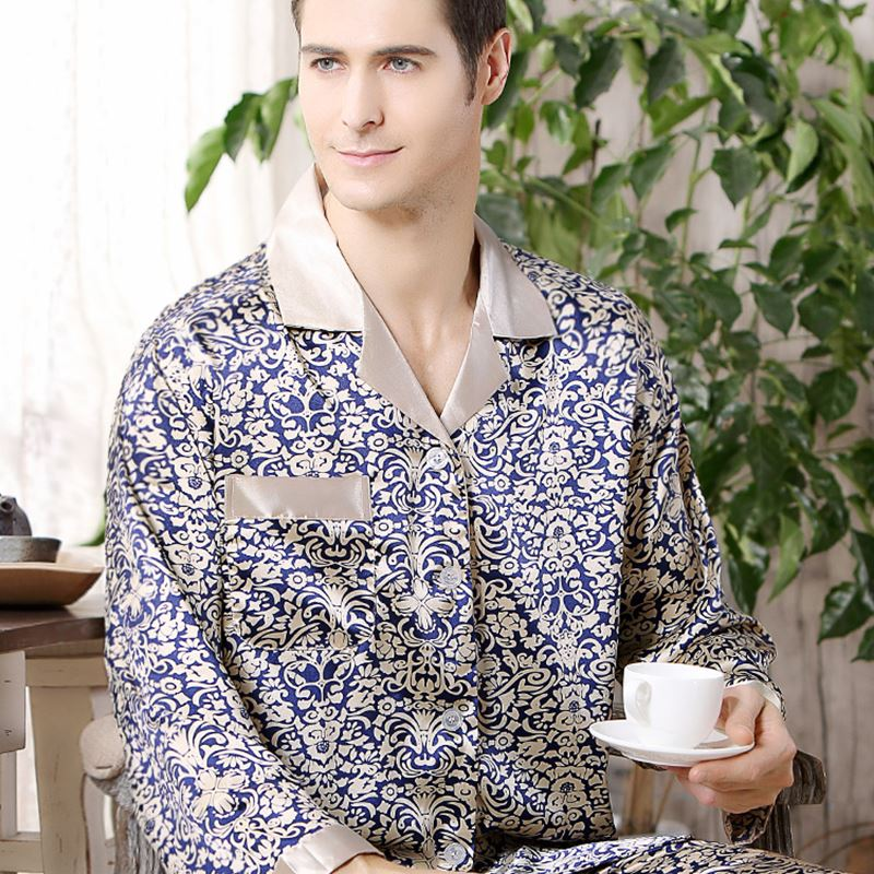 Spring Autumn Mens Silk Satin Pajama Set Pajamas Long-sleeved Shirt And Trousers Night Suit Thin Home Sleepwear Pijama Masculina