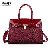 Chất Lượng cao Patent Leather Túi Xách của Phụ Nữ Thời Trang Nổi Phụ Nữ Shoulder Bags Crossbody Công Suất Lớn Màu Đen Tay Cầm Túi Top Túi