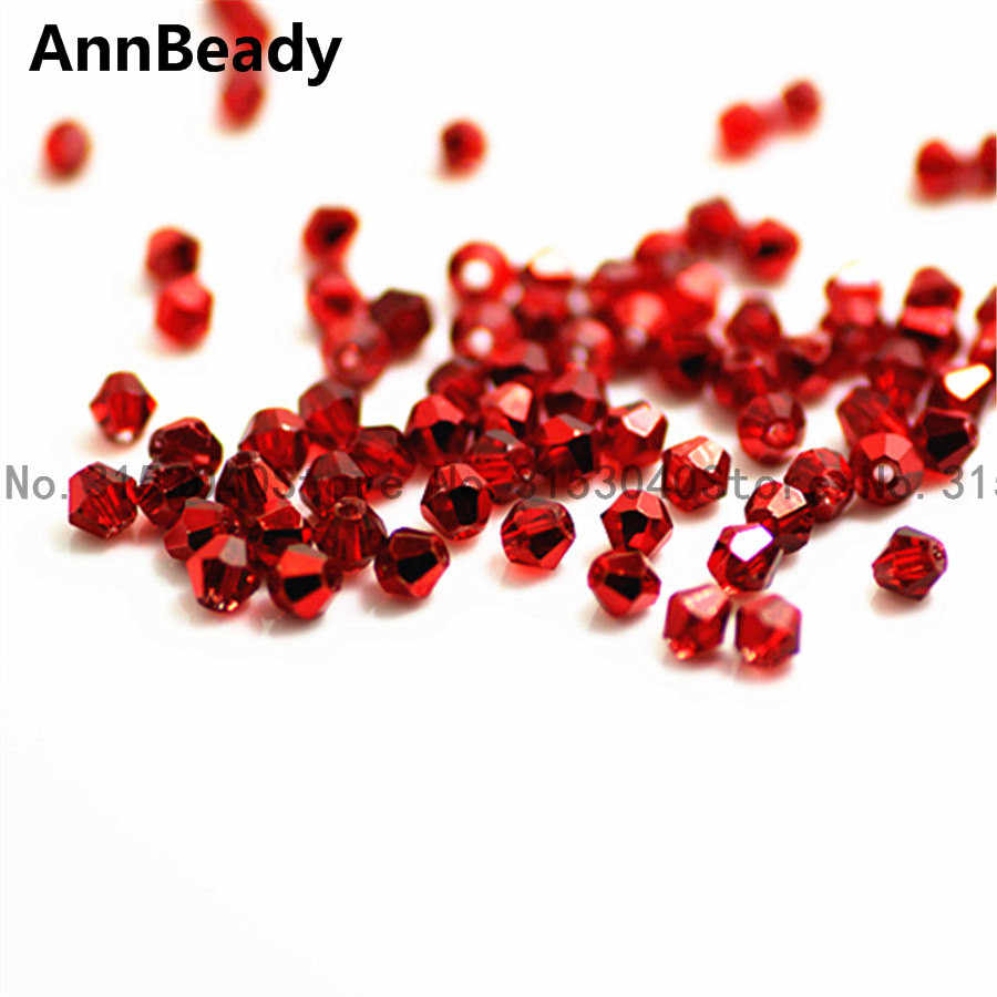 AnnBeady 100pcs ใหม่สีแดงสี 4 มม.ลูกปัดคริสตัลแก้วลูกปัด Spacer ลูกปัด DIY เครื่องประดับทำออสเตรียลูกปัดคริสตัล