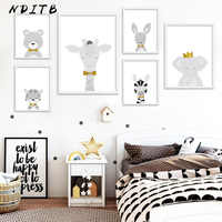 Baby Nursery Wall Art Canvas Poster Print Animal Lion Elephant Painting Nordic Kids Decoration Picture Children Bedroom Decor