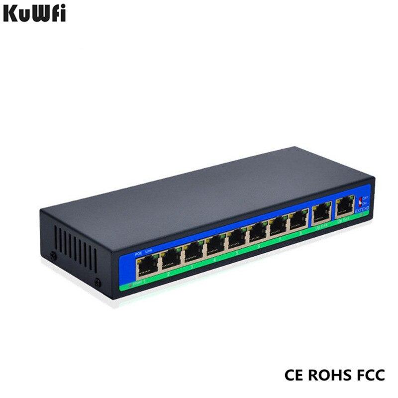 8 + 2 Ports 250 m étendre le Type d'adaptateur d'alimentation commutateur réseau non géré alimentation POE atteint 30 W 1.6G capacité avant et magasin