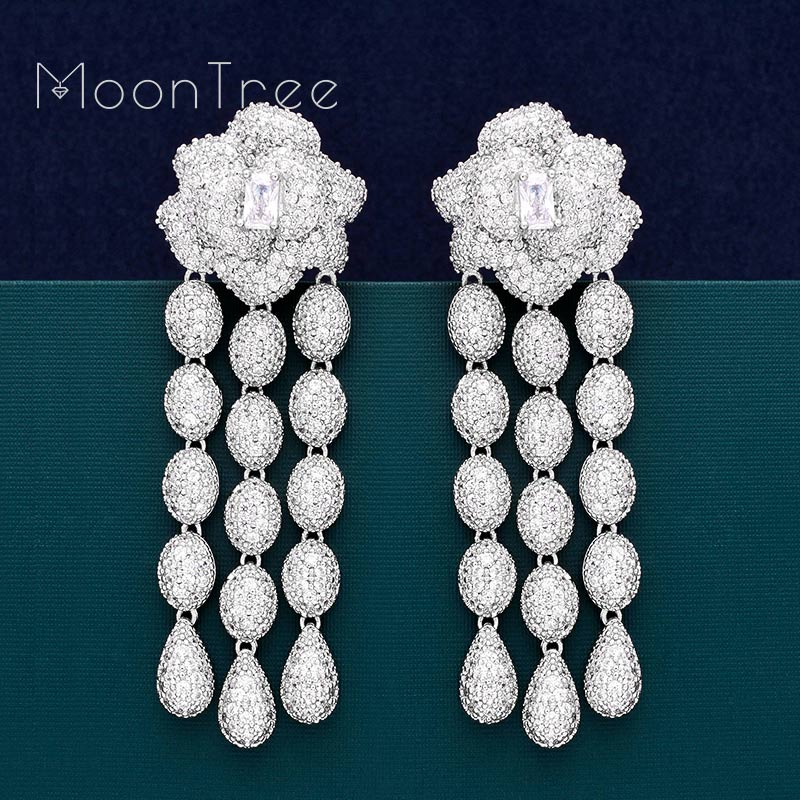 MoonTree Flower Floral Fashion Luxury Super AAA Cubic Zirconia Women Wedding Engagement Party Earring Fashion Jewelry moontree luxury flower lily full micro aaa cubic zirconia copper pendant necklace dangle earring sets women party bijuterias