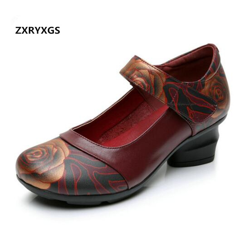 Noble Elegant Middle aged Mother Shoes High Heels 4 Cm New 2019 Large Yards Printing Genuine