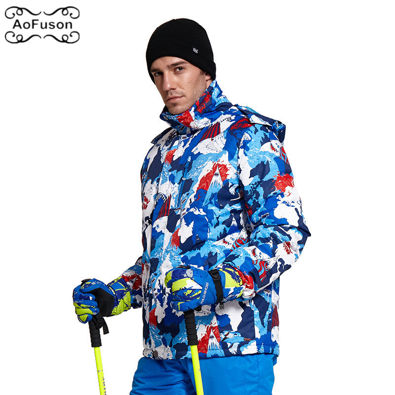 Men Ski Wear Jacket Winter Snow Windproof Waterproof Professional Ski Wear Graffiti Snowboard Thicken Warm Coat Male Jacket 2019 waterproof camping camouflage couples two piece ski wear male thickening fleece ski wear winter jacket men outdoor jacket