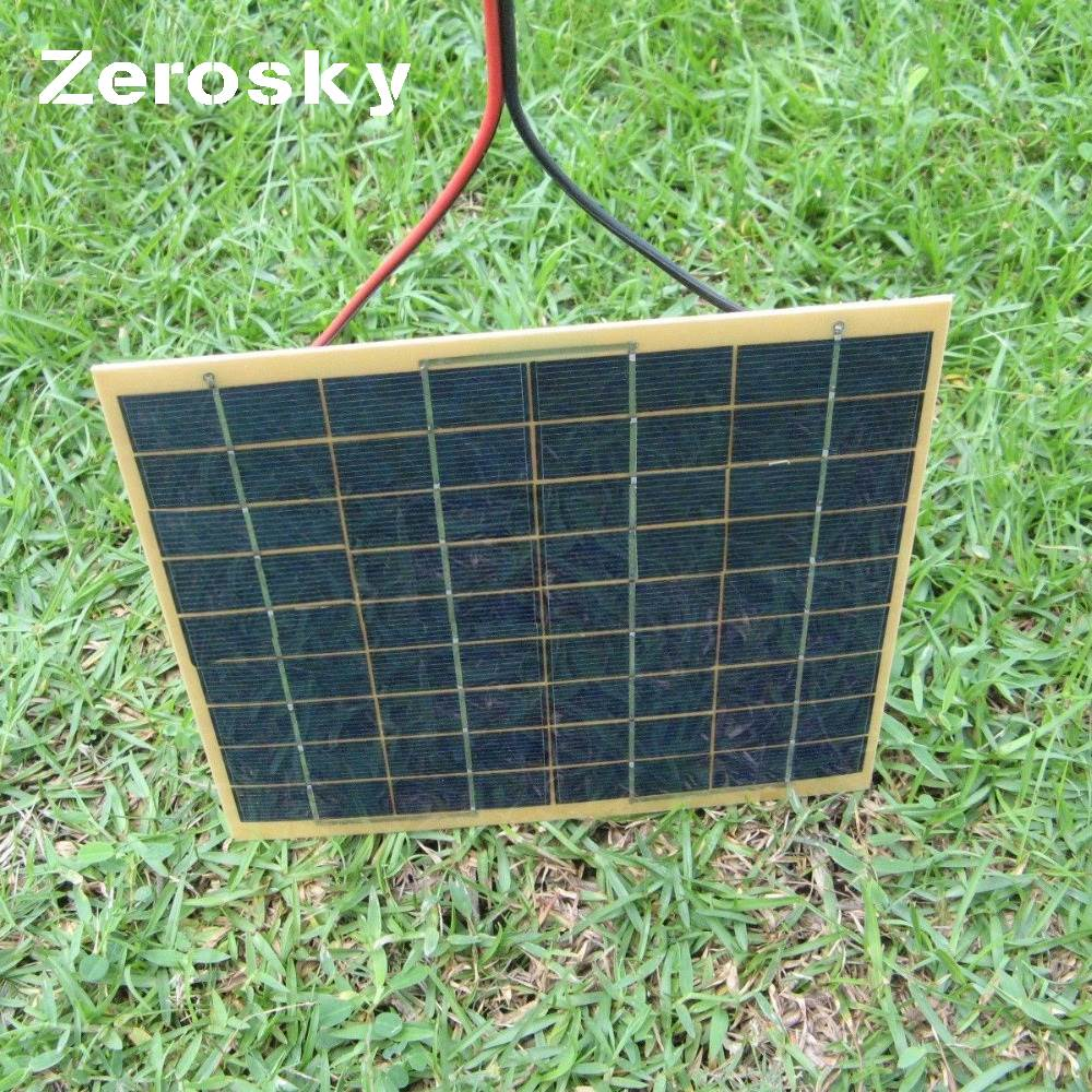 Zerosky <font><b>5W</b></font>/<font><b>12V</b></font> Phone Car <font><b>Solar</b></font> <font><b>Panel</b></font> Charger Battery Trickle Charger Backpack Power for Casual Use 210*220*3MM image