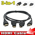 2015 Full HD 3 В 1 HDMI К HDMI Mini HDMI Micro Кабель HDMI V1.4 позолота Адаптер Конвертера Для Xbox 360 HDTV 1080 P Мобильный
