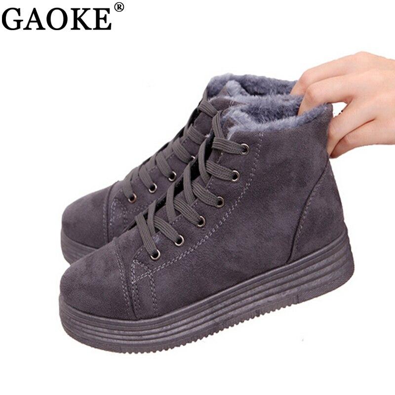 Женские зимние ботинки теплые замшевые Зимняя обувь на платформе Ботильоны женская повседневная обувь круглый носок Женские сапоги
