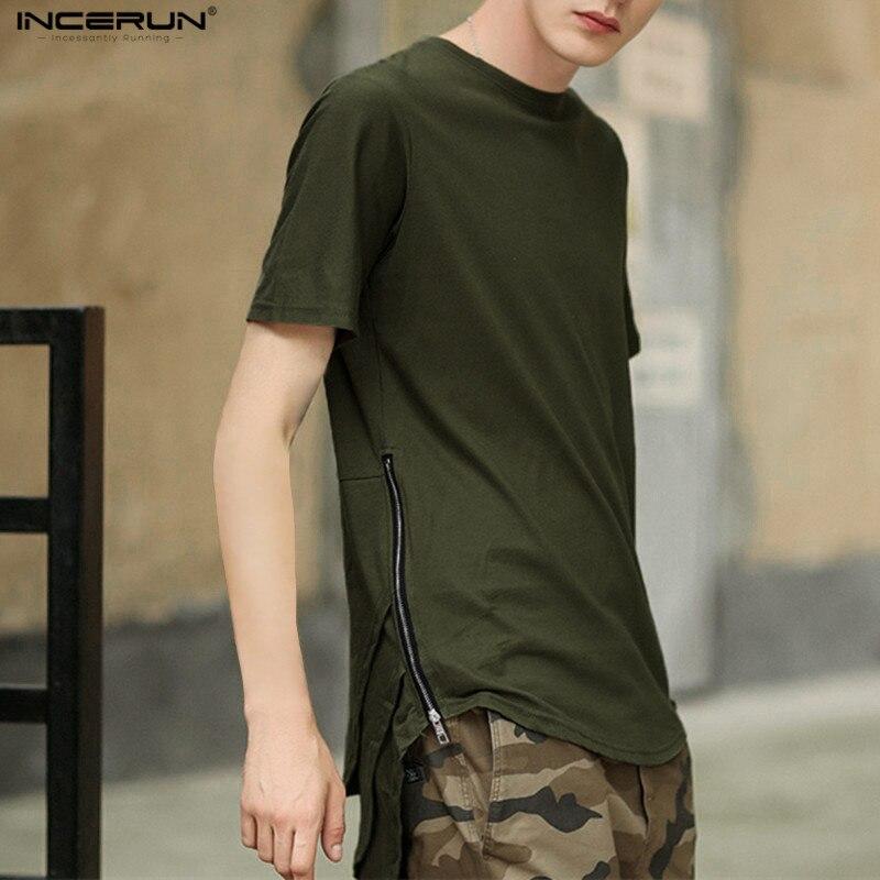 INCERUN Men Hip Hop O-neck Swag Long t shirt Oversized Gold Side Zipper Arc Cut Patchwork Casual Men's Extended T-shirts XXL