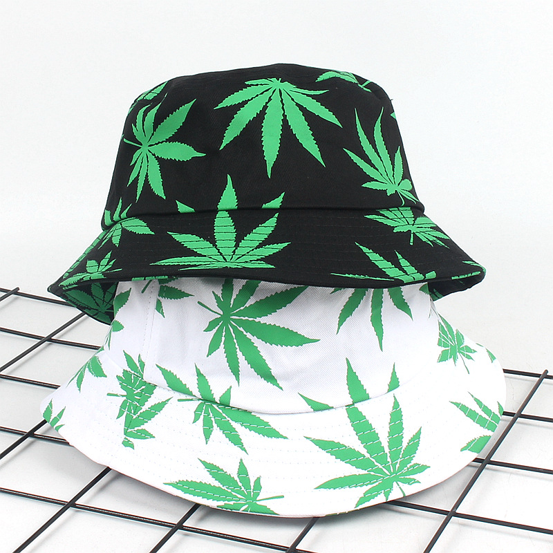3eff2274 Print Maple Leaf Panama Bucket Hat Women Men Street Hip Hop Cap Couple Flat  Fisherman Hats