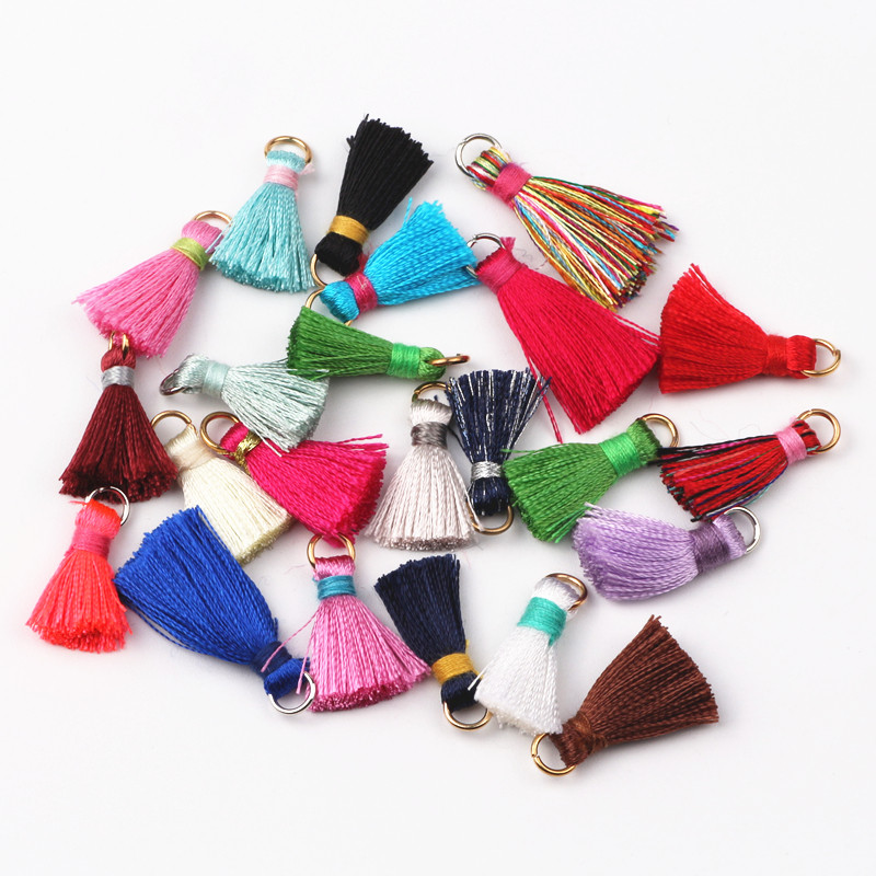 100pcs/lot 21-28mm Mix Color Cotton Tassels Earrings Silk Charm Pendant Satin Tassels For DIY Jewelry Making Findings Materials