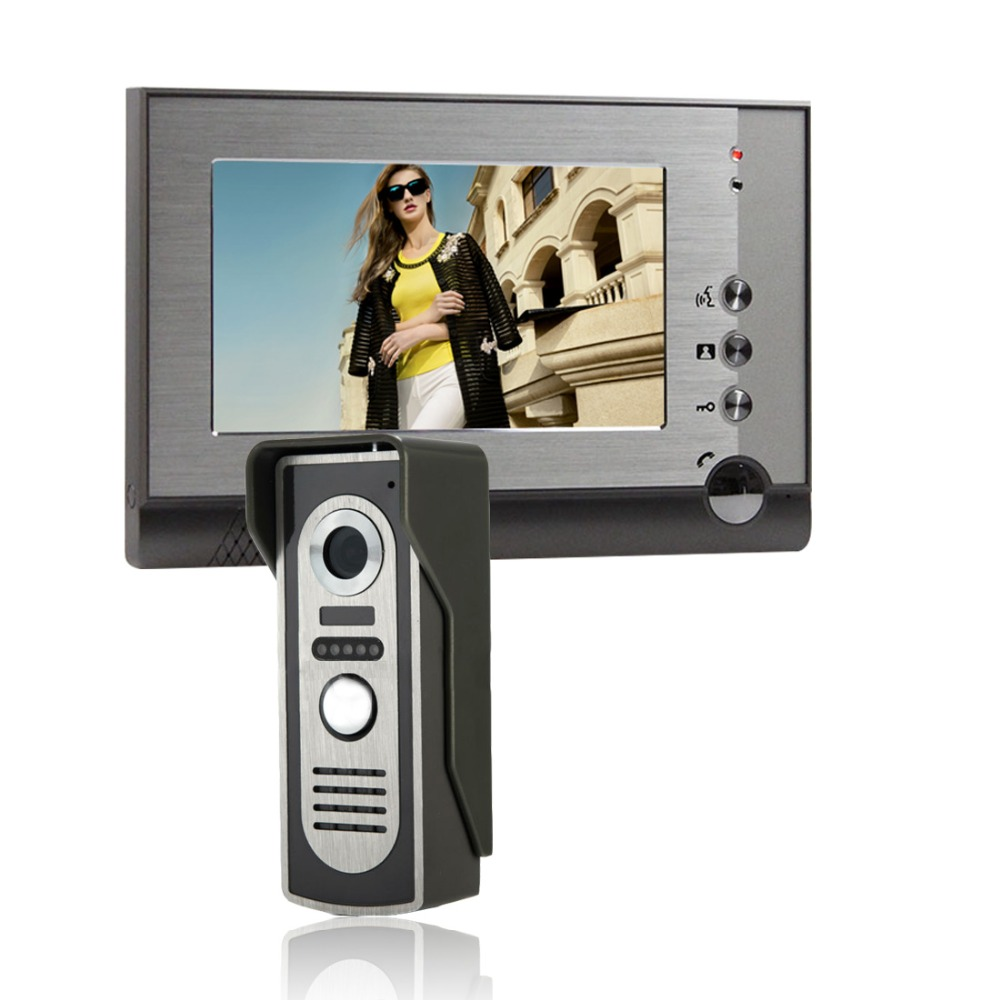 security camera 7 inch Wired Video monitor house Intercom With IR Camera Doorbell intercom Unlock Video Door Phone SYSD