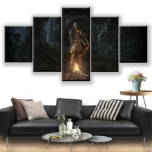 5 Panel Dark Souls Game Canvas Swordsman Printed Painting Living Room Wall Decor Picture Artworks Poster Wholesale
