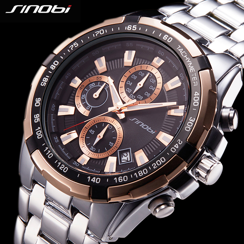 SINOBI Chronograph Mens Watches Top Brand Luxury Fashion Business Quartz Wristwatch Man Stainless Steel Clock 2017 Montre Homme relogio masculino chronograph mens watches top brand sinobi luxury fashion business quartz watch man sport waterproof wristwatch