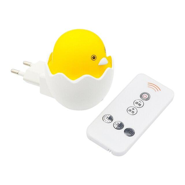 ANBLUB Lámpara LED de pato amarillo con Sensor de Control de luz nocturna, lámpara de pared con Control remoto para el hogar, dormitorio, niños, regalo, enchufe de la UE