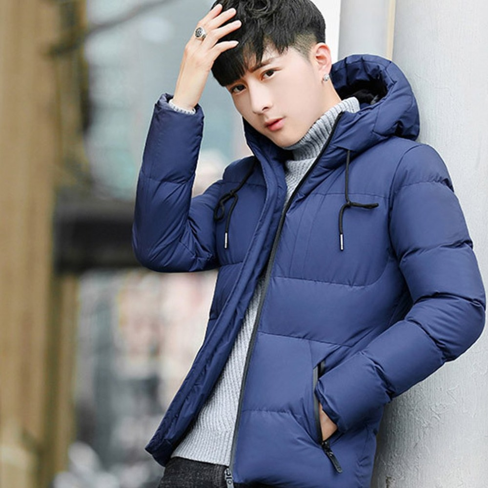 Windproof Mens Winter   Parkas   Winter Thick Warm Cotton Paddad Hooded Coat Male Bombers Jackets Slim Outwear Harajuku Moletom