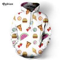 Qybian 2017 Sweatshirts Tracksuit Men Fashion sweet Hoodies Pullover Sweat Shirt Cute fruit ice cream Print Men Women