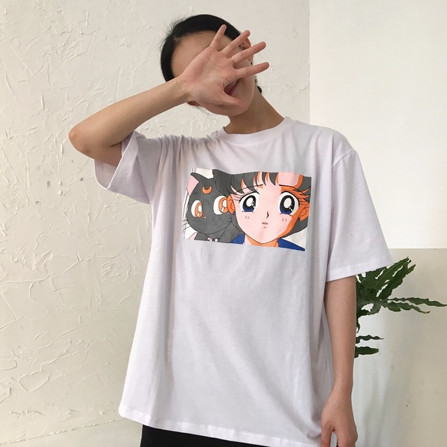 Summer cute t shirt for women japanese style sailor moon for Cute japanese t shirts