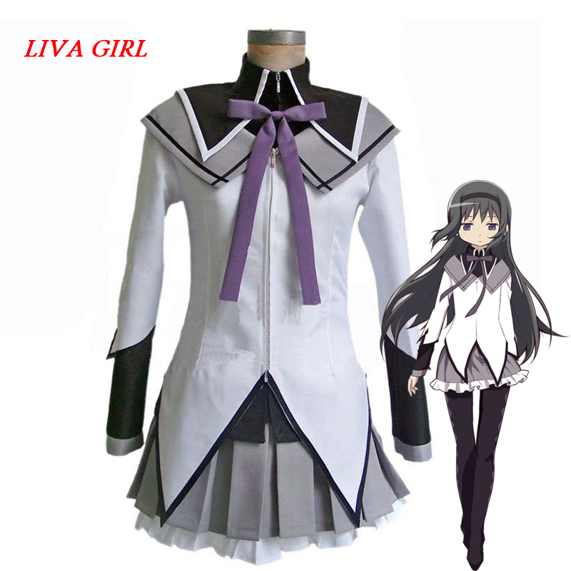 Liva Girl Anime Puella Magi Madoka Magica Akemi Homura Cosplay Costume Clothing Customization