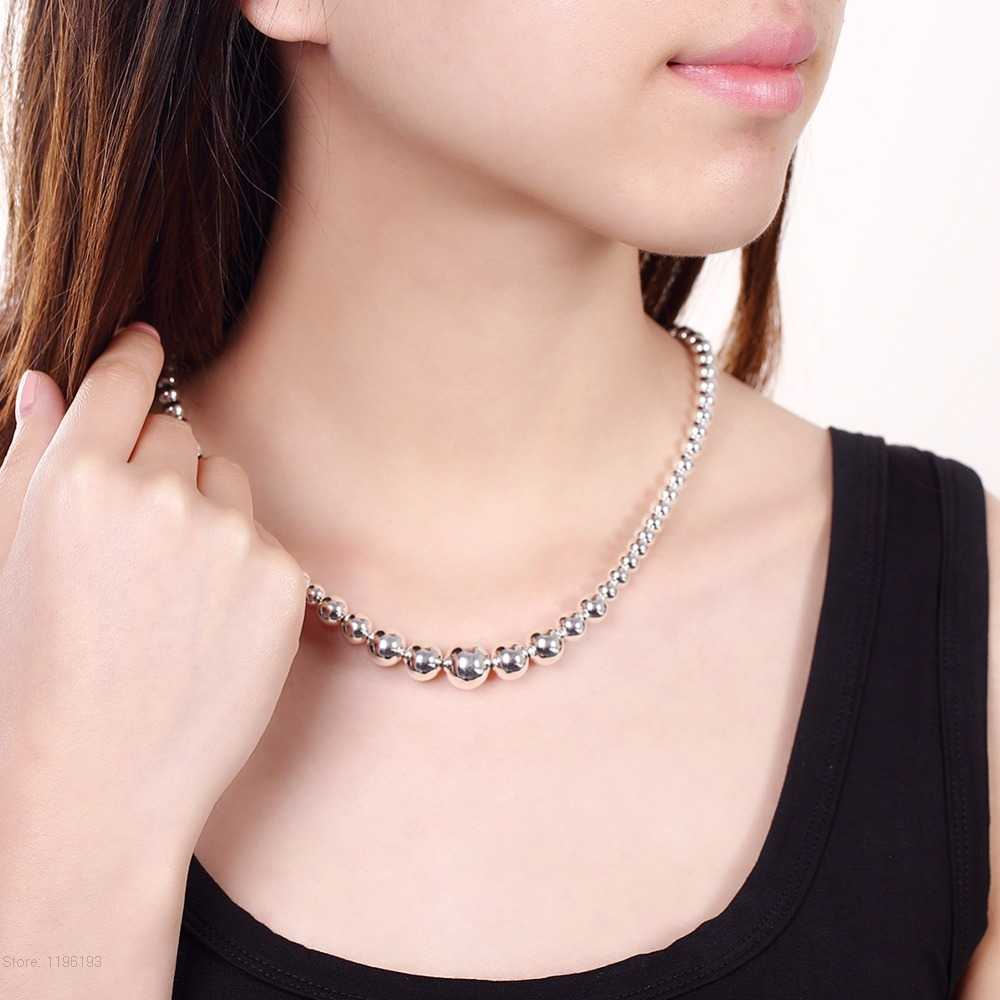 Silver 925 Exquisite Noble Luxury Gorgeous Charm Fashion vary Chain Women Lady Beads Necklace 18 Inches Silver Jewelry