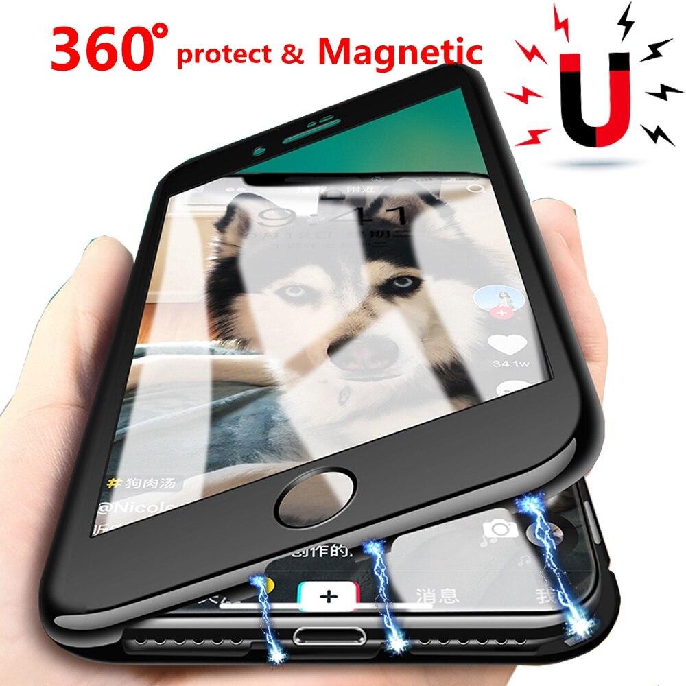 360 Magnetica Adsorbimento Per iphone X XR 10 iphone XS Max 6 s plus Coque Copertura Della Cassa Del Telefono Per Il iphone 7 iphone 8 più Custodie di Lusso