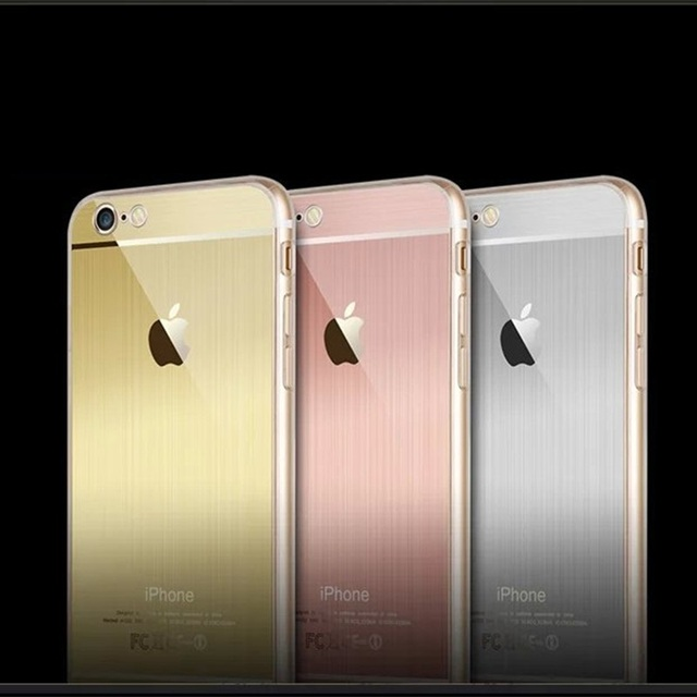 Luxury Fashion Rose GoldGoldSilverColor Metal Cover TPU Soft Case