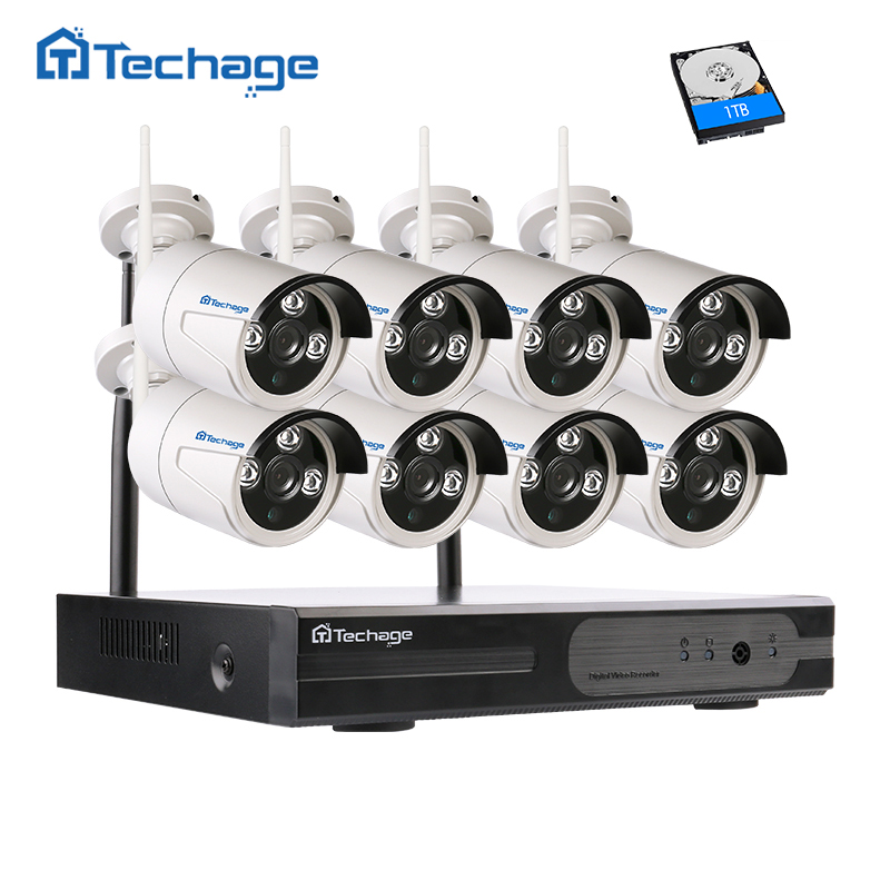Techage Plug&Play 8CH 960P 1.3MP HD Wireless NVR CCTV System Outdoor P2P wifi IP Camera Security Surveillance DIY Kit 1TB HDD new listing plug and play 4ch wireless nvr kit 7 inch lcd screen 720p hd outdoor security wifi camera cctv system 1tb hdd