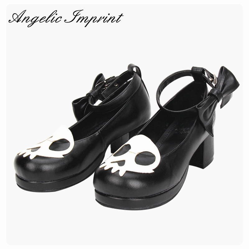 New Arrivals Devil Skull Gothic Punk Lolita Cosplay Block Heel Round Toe Shoes for Women BLACK 4pcs gothic halloween artificial devil vampire teeth cosplay prop for fancy ball party show