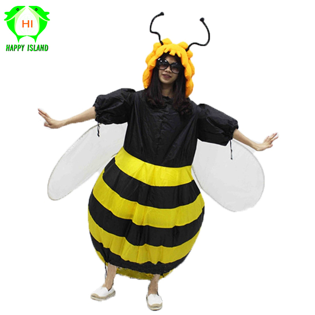 2019 Women's Bumble Bee Costume Inflatable Fancy Dress Outfit Purim Halloween Holiday Party Bar Club Cosplay Animal Suit Costume