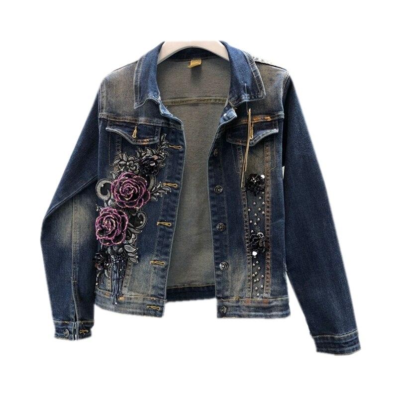 Broderie Causalité Veste Perlé Vêtements De Gland Pourpre Nouveau Vintage 2018 3d Conception Denim Manteau Femmes Jean Outwear Mode x7wIIYgq