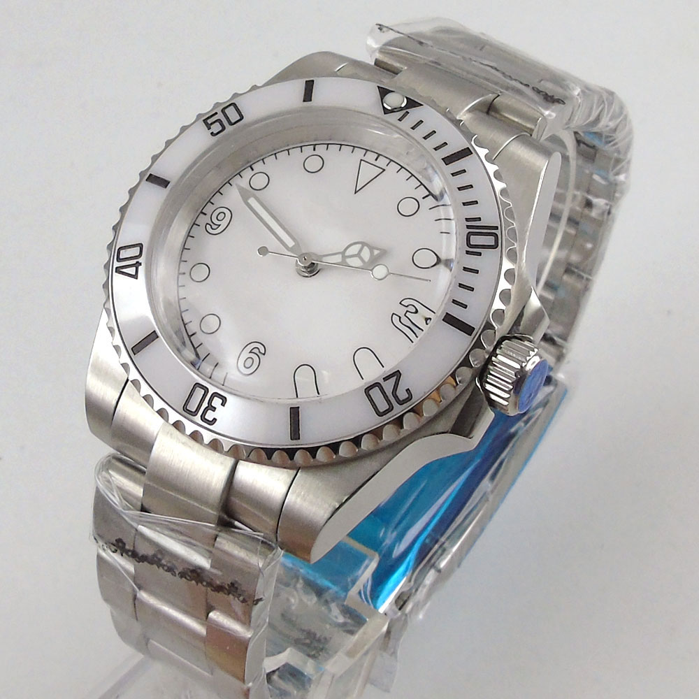 Solide BLIGER 40MM Nologo cadran blanc montre pour hommes lunette en céramique marques lumineuses en plastique verre mécanique mouvement automatique
