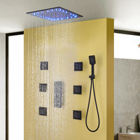 Black Shower Faucet Rainfall Shower Sets Luxury Bathroom Shower Heads 20 Inch Wall Concealed ShowerMixing Valve Brass Showers