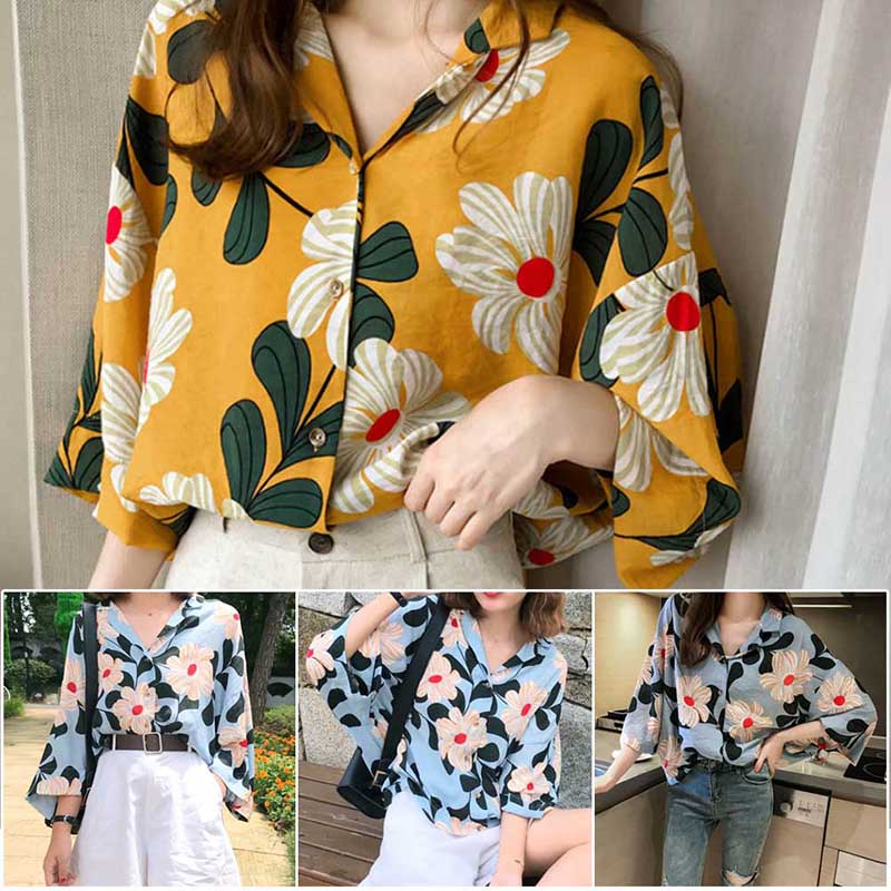 Womens Tops And Blouses 2019 Streetwear Floral Print Front Tie Flare Sleeve Shirts Tunic Ladies Top Womens Clothing