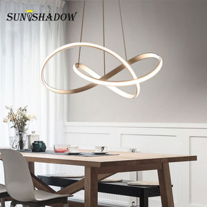 Image 4 - Lámpara colgante de luz Led para el hogar lámpara colgante hogar moderna, de Color negro, dorado y blanco, para comedor, cocina, sala de estar y oficina