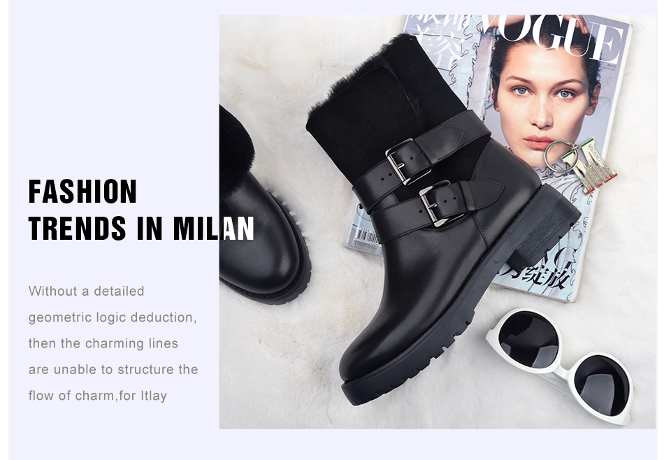 DONNA-IN 2017 winter new styles real fur mid-calf boots thick outsole metal buckle women boots warm wool low heel snow boots 838-702 (3)