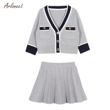 337bc9053fe6 (Ship from US) ARLONEET Baby Kid Girls clothing Long Sleeve British College  Wind Knit Cardigan Sweater Jacket + Pleated Skirt Two-Piece Set2018
