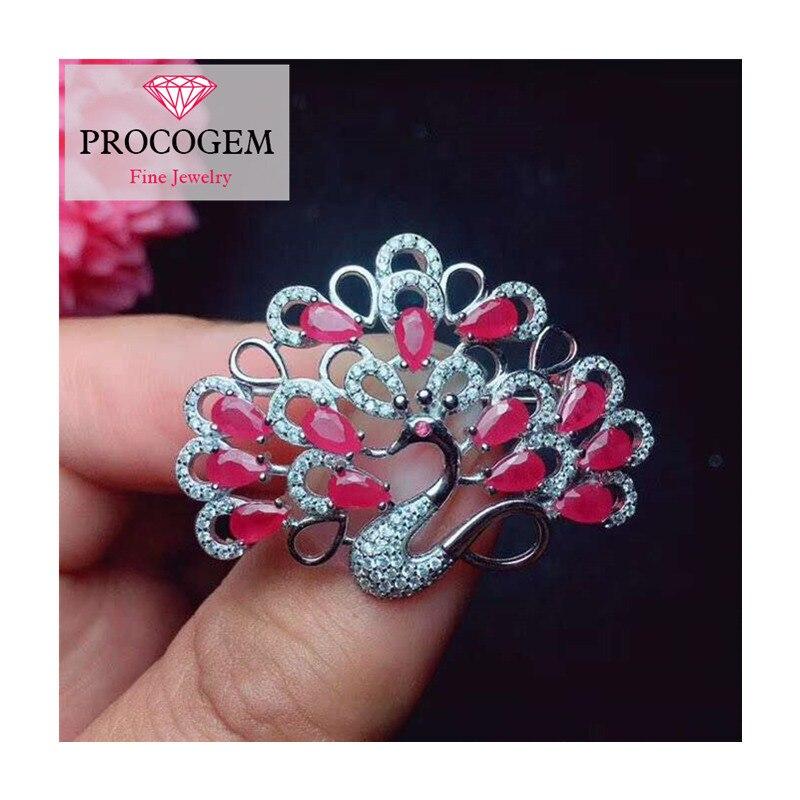 Broches de rubis de paon naturel pour la fête féminine saint valentin cadeaux goutte d'eau véritable pierre gemme fine bijoux 925 argent Sterling 329 - 3