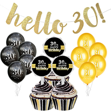 Hello 30 40 50 60 paper garland flags bunting 30th Birthday happy birthday party decorations