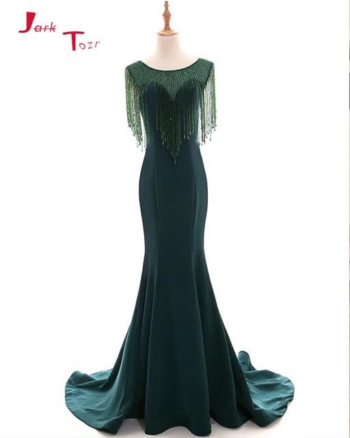 Jark Tozr 2019 New Arrive Beading Tassel Green Satin Mermaid Prom Dresses Vestido Formatura Alibaba China Honorable Formal Gowns