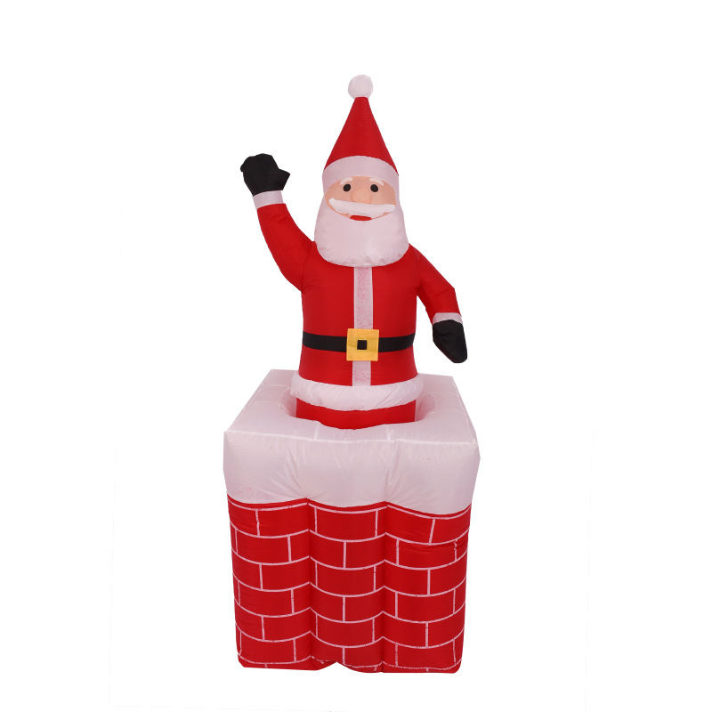 180cm Giant RaisInflatable Santa Claus In Red Brick Chimney Christmas New Year Party Toys Yard Decoration Airblown цены онлайн