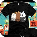 New 2017 Summer We Bare Bears T-shirt Anime Cotton man women T shirts Casual Short Sleeve